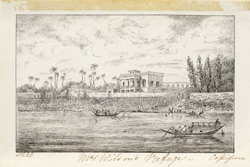European house on river bank, Cossipur (Bengal). c.1830